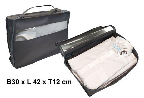 Hemdentasche, PP, grau, L 32 x B 30 x H 12 cm, mit