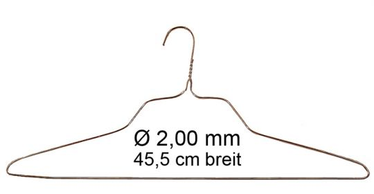 "Drahtbügel  2,00 mm KB, 18"" breiter Hemdenbügel"