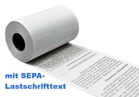 Kassenrolle Thermopapier 57 x 40 x 12 mm, m. SEPA