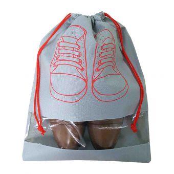 Schuhbeutel mit Sichtfenster, 32 x 42 cm, grau