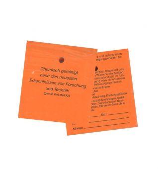 Fleckenzettel, orange, 120 g-Papier, mit Bügelloch