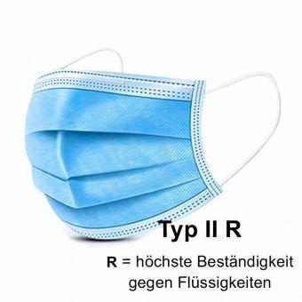 Mundschutzmaske Einweg, 3-lagig, Typ II R, >99%