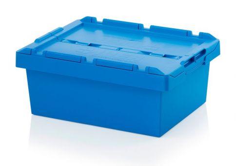 Mehrwegbehälter mit Deckel, blau,stapelbar/nestbar
